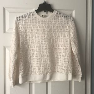 DKNYC Ivory Sheer Long Sleeve Sweater Size M